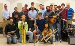 Members of John LaBarbera&#039;s big band from the University of Louisville assemble for a &quot;group grin&quot; photo op. A sample of John LaBarbera&#039;s work is featured on Program 36.